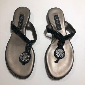 Brighton poetry sandals 4 black silver hardware